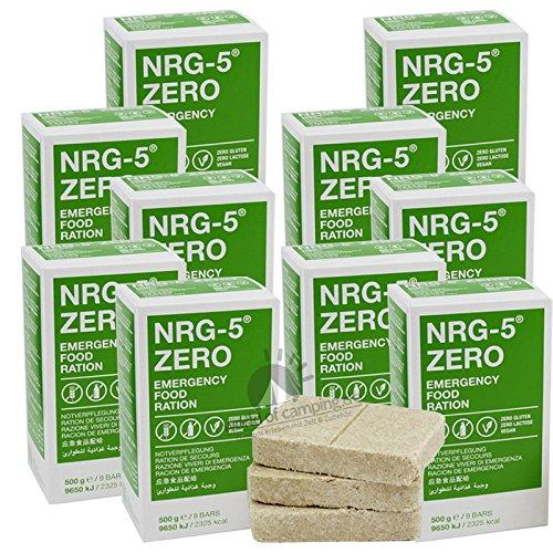 Notverpflegung 10x NRG-5 ZERO Glutenfrei Survival 500g Notration Notvorsorge | 10x9 Riegel Survivalnahrung Expeditions Grundausstattung wie EPA