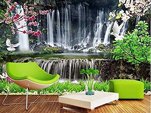 ZZXIAO Foto Mural de pared Cascada 3D Paisaje estereoscópico Papel Moderno TV Fondo Mural 3D Decoración Fotomural sala Pared Pintado Papel tapiz no tejido-430cm×300cm