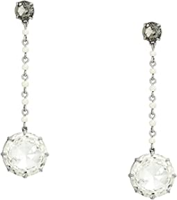 Crystal Pearl Linear Earrings