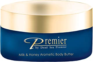 Premier Dead Sea Aromatic Body Butter- Milk and Honey, minerals, anti aging, firming, skin tone, age spots, Neck & Décolleté, Lightweight, and Long-Lasting Nourishmentl, silky, non tacky 5.95Fl.oz