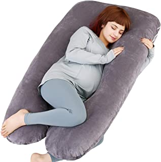 MOON PINE U Shaped Pregnancy Pillow, Maternity Full Body Pillow for Back, Legs and Belly Support, Sleeping Pillow for Pregnant Women and Side Sleepers with Removable Cover (Grey)