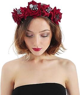 ITODA Halloween Hairband Bandeau Mariée Voile Couronne de Fleurs Rose Serre-tête avec Voile Bandeau tête Mariée Zombie Got...