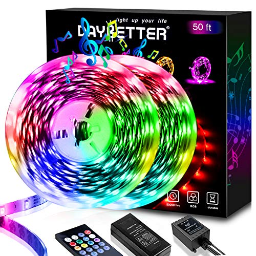 50ft LED Strip Lights, Daybetter LED Light Strip Music Sync Color Changing 5050 SMD RGB LED Lights Kit with 20 Keys Remote Voice Control LED Lights for Bedroom Home Party (2X 25FT)