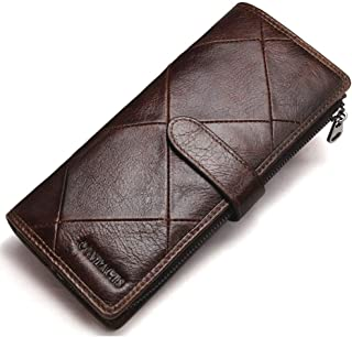 Trifold Wallets for Men Leather, Large Capacity Wallet for Men, Stitching Long Men'S Wallet, Money Clip Wallets for Men wi...