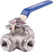 DERNORD 3-Way Ball Valve, L Mounting Pad, Stainless Steel 304 Female Type with Vinyl Locking Handle (3/8 Inch NPT)