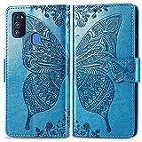 Roar Mädchen/Frauen Hülle für Samsung M21, Handyhülle Tasche Schutzhülle Flip Hülle Klapphülle für Samsung Galaxy M21, Türkis