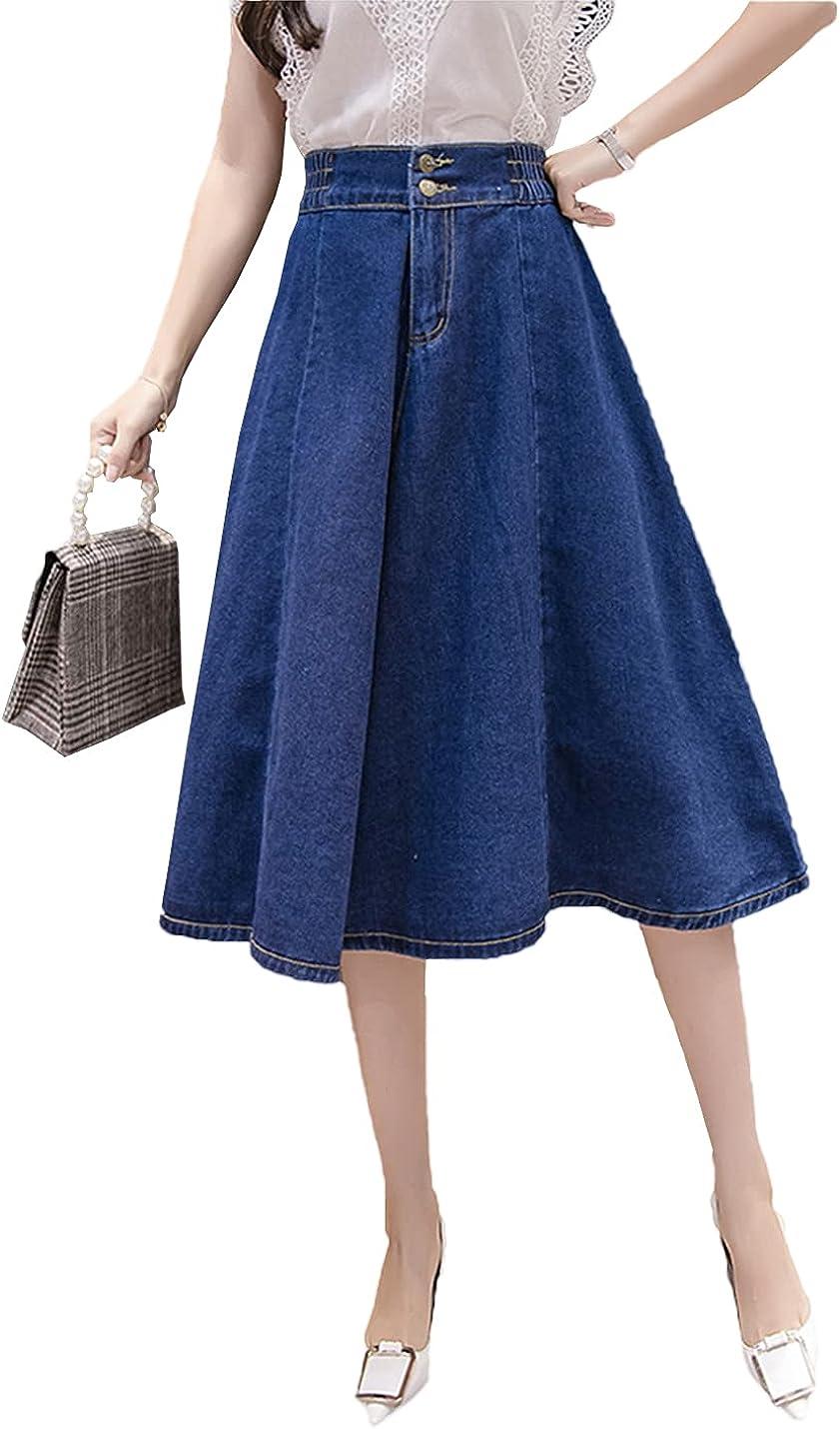 IKIIO Women's Casual Summer High Waist Loose Fit Flared Skirts Elastic Waist Denim Skirt