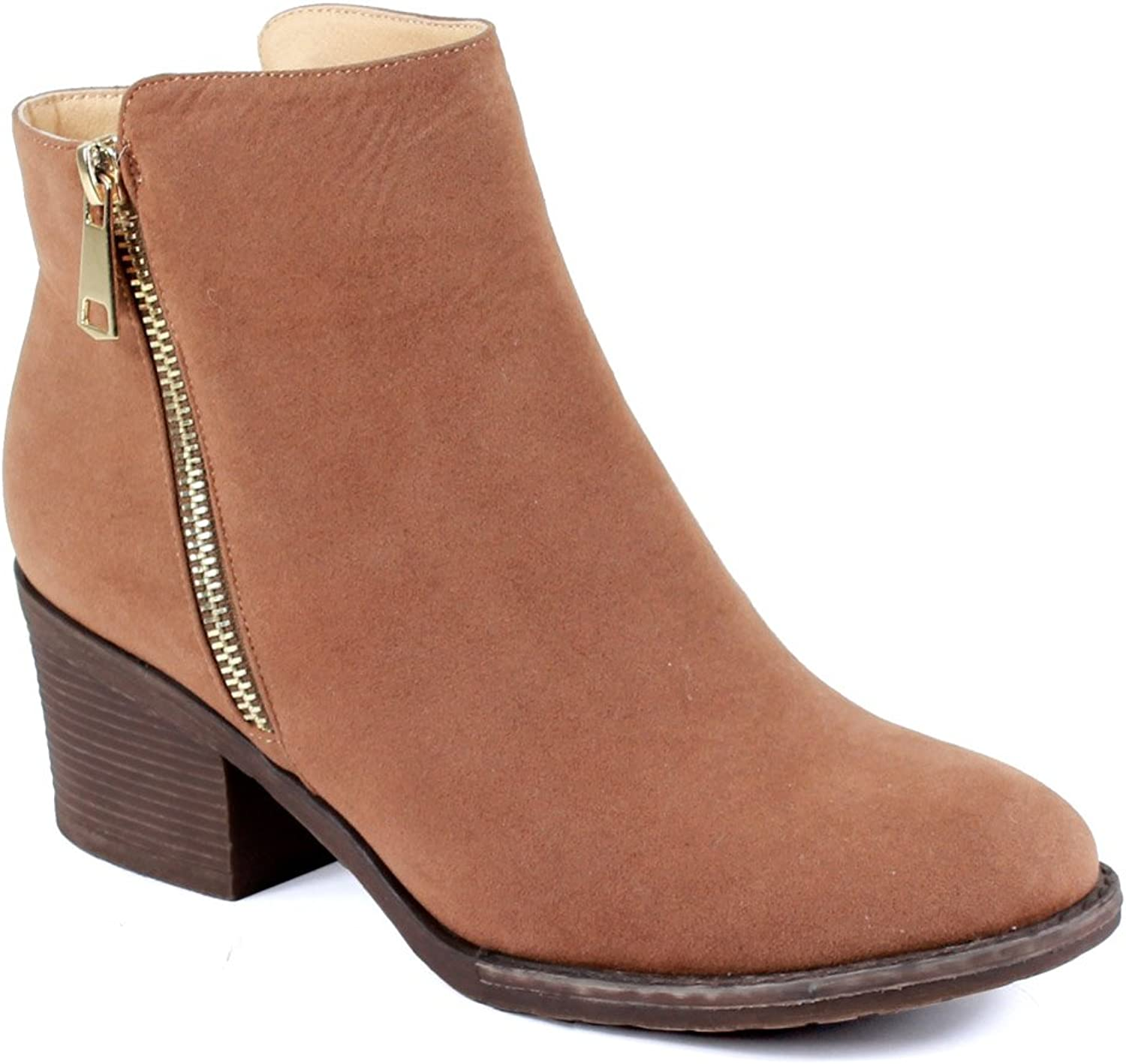 Reneeze PAMA-01 Womens Fashionable Stacked Heels Ankle Booties - Camel
