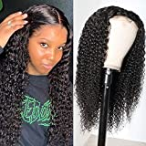 Beauty Forever 5x5 HD Lace Closure Wigs Curly Human Hair Wigs for Black Women Malaysian Unprocessed Virgin Human Hair 5x5 Transparent Lace Front Wig Pre Plucked with Baby Hair 180% Density 18 Inch