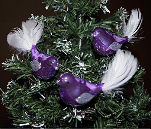 """3 tlg. Glas Vogel Set in \""""Hochglanz-Lila-Silber\"""" - Neuheit - Christbaumkugeln - Weihnachtsschmuck-Christbaumschmuck"""