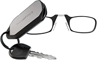 ThinOptics Reading Glasses + Keychain Case | Black Frame, 1.00 Strength Readers