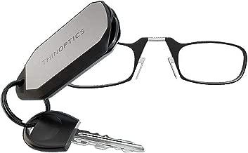 ThinOpticsReading Glasses + Keychain Case | Black Frame, 1.50 Strength Readers