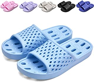 Xomiboe Shower Shoes with Drainage Holes Quick Drying Non Slip Soft Mens and Womens Bathroom Slippers Blue Size: 5.5-6 Women/4.5-5 Men