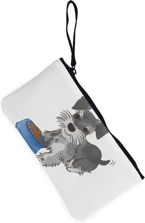 AORRUAM Schnauzer dog Canvas Coin Purse,Canvas Zipper Pencil Cases,Canvas Change Purse Pouch Mini Wallet Coin Bag