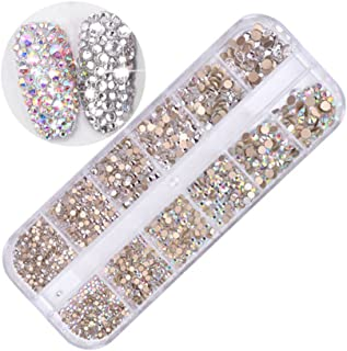 VolksRose 3D Nail Art Rhinestones Supplies Diamond DIY Gift, 1 Box Glitter Crystal AB Round Flatback Charms Gems for Nail Decoration Crafts Eye Makeup Phone and More with Storage Organizer Box #1
