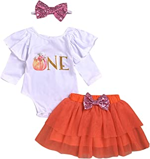 Halloween Baby Girl Outfits 1st Birthday Pumpkin Long Sleeve Romper Top Ruffle Tulle Tutu Skirt Headband 3pcs Clothes Set