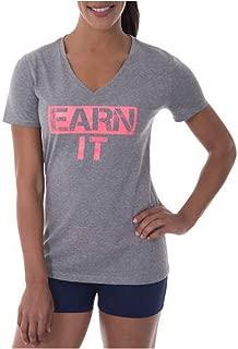 Danskin Now Women's Active Fitspiration V-Neck Graphic T-Shirt (Medium, Earn It)