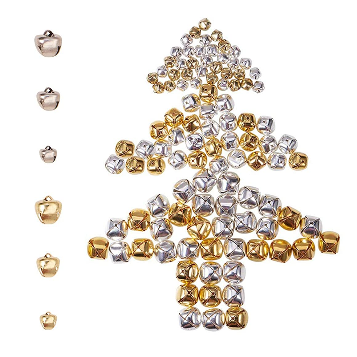 PH PandaHall About 460pcs 2 Colors 3 Sizes Iron Craft Jingle Bells Mini Small Bell Bell Charms Loose Beads or Christmas, Party Decorations Jewelry Making (Golden and Platinum)