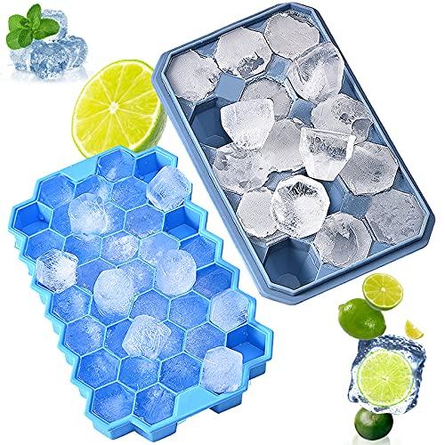 Eiswürfelform Silikon, BPA Frei Eiswürfelbehälter mit Deckel, Waben und Diamant Eiswürfelformen 2 Stück, FLGB Zertifiziert Ice Cube Tray für Wasser Whisky Cocktails und Babynahrung