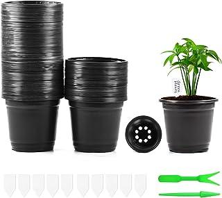 Herefun Vasi per Piante in Plastica 100Pezzi, 10cm Vasi di Plastica da Fiori con 10*Etichette+2*Strumenti, Vasetti per Pia...