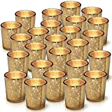 Granrosi Gold Mercury Votive Candle Holder Set of 25 - Mercury Glass Tealight Candle Holder with A Speckled...