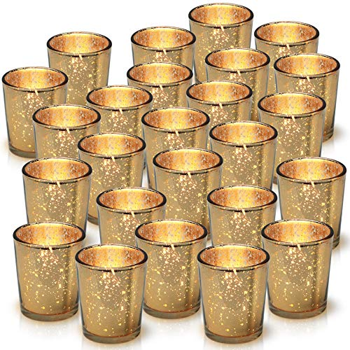 Granrosi Gold Mercury Votive Candle Holder Set of 25 - Mercury Glass Tealight Candle Holder with A Speckled Gold Finish - Adds The Perfect Ambience to Your Wedding Table Decorations Or Home Decor