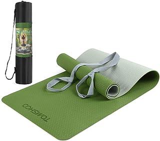 TOMSHOO TPE gymnastikmatta, halkfri miljövänlig yogamatta träningsmatta, hudvänlig ftalatfri träningsmatta för yoga pilate...