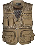 Flygo Mens Mesh Outdoor Work Fishing Travel Photo Vest with 16 Pockets Khaki (XXX-Large, Khaki)