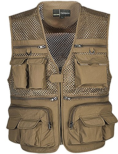 Flygo Mens Summer Outdoor Work Safari Fishing Travel Photo Vest with Pockets (X-Large, Khaki-mesh)