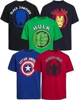 Marvel Boys' T-Shirt – 5 Pack Short Sleeve Avengers Super Hero Graphic Tee (Toddler/Little Boy/Big Boy)