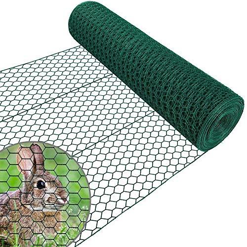 Amagabeli 1 m x 25 m grön hexagonal trådnät stängsel RAL6005 PVC-belagd 25,4 mm nätstorlek 1,2 mm tråd diameter galvaniserad tråd staket rulle för trädgård fjäderfänät kyckling tråd hårdvara duk HC05