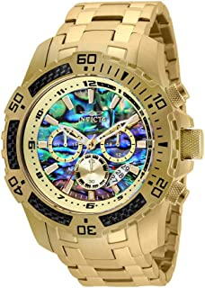 Men's Pro Diver Scuba Quartz Chronograph Carbon Fiber Bezel Abalone Dial Bracelet Watch, 50mm