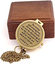 Roorkee Instruments India Compass with Scripture Joshua 1:9 is Engraved,Engraved Compass W/Wood Case, Confirmation Gift Ideas, Baptism Gifts