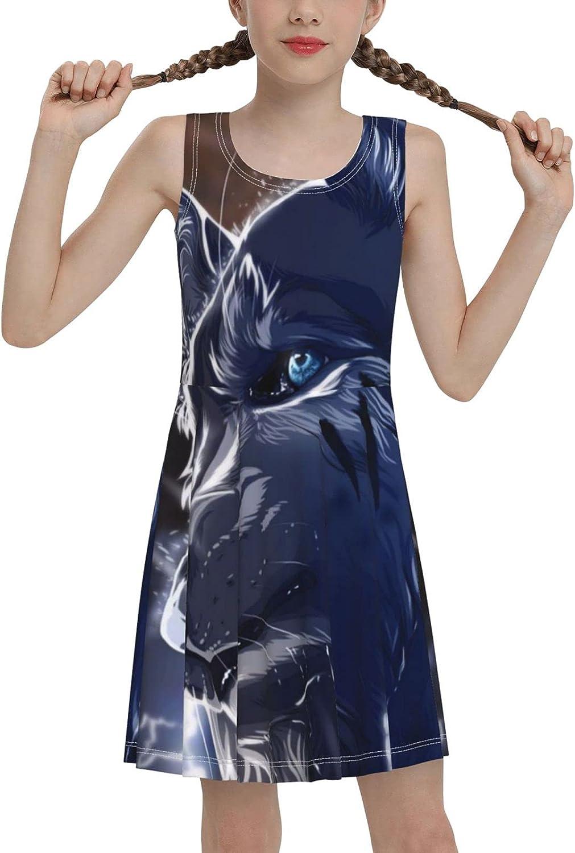 Blue Sad Wolf Sleeveless Dress for Girls Casual Printed Vest Skirt