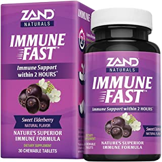 Zand Immune Fast Elderberry Chews | Boosts Immune Response & Cell Activity w/EpiCor* & Vitamin C, 30 Tablets, 10 Serv.