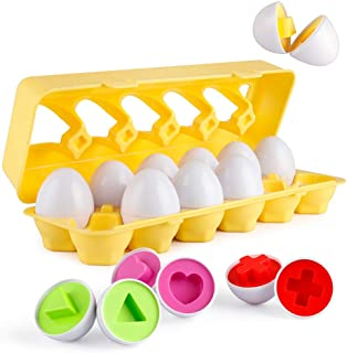 Coogam Matching Eggs 12 pcs Set Color & Shape Recoginition Sorter Puzzle for Easter Travel Bingo Game Early Learning Educational Fine Motor Skill Montessori Gift for 1 2 3 Years Old Toddlers Kids