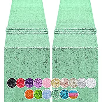 Hahuho 2PCS 12x72 Inch Sequin Table Runner Mint Green Glitter Table Runner for Party Wedding Bridal Baby Shower Event Decorations(2PCS 12x72 Inch Mint Green)