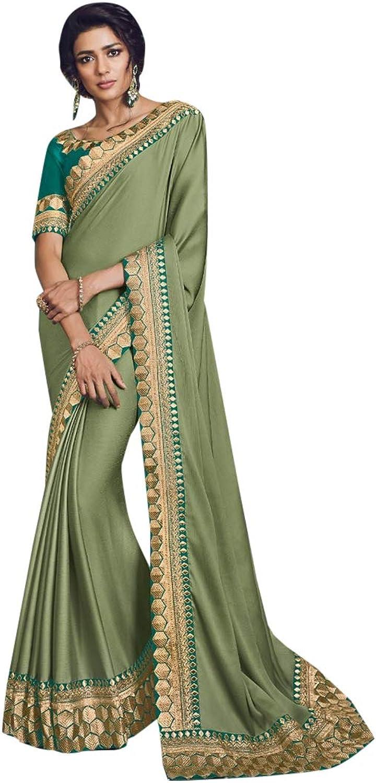 Silk Stylish Party Festival Saree Ceremony Zari Border Sari Indian Silk Blouse Formal Women Black Friday 7276