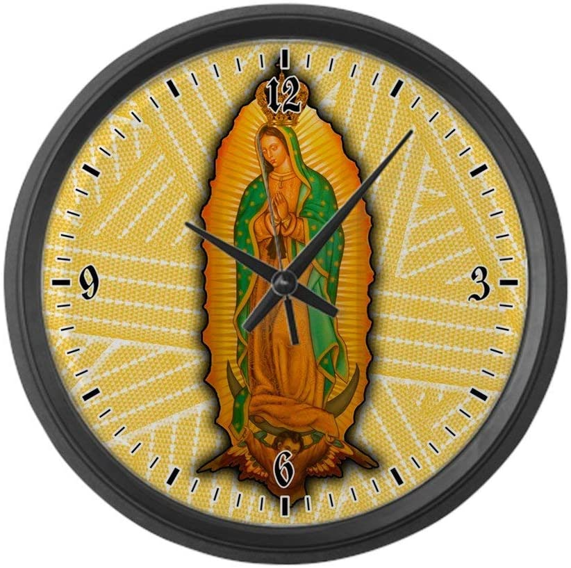 BCWAYGOD Virgen de Guadalupe Wall Clock Nice for Gift or Office Home Unique Decorative Clock Wall Decor 12in with Frame