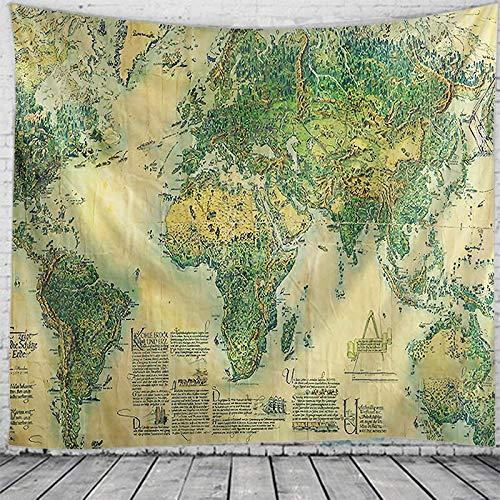 N / A Tapiz de Mapa del Mundo de Estilo nórdico Tapiz de Mandala Indio tapices de Pared gitanos Bohemios Tapiz psicodélico Tapiz de brujería decoración del hogar Tela de Fondo A4 100x150cm