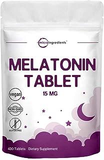 Micro Ingredients Advanced Sleep Melatonin 15mg, 400 Tablets, Nighttime Sleep Aid for More Relaxation, Premium Melatonin S...