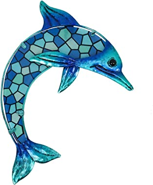 HONGLAND Metal Dolphin Wall Decor Blue Mosaic Glass Art Sculpture Hanging Decorations for Home, Garden, Bedroom, Indoor, Outd