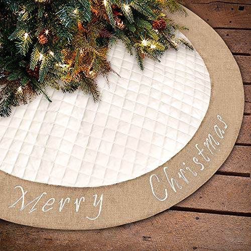 Ivenf Christmas Tree Skirt, 48 inches Large White Burlap Quilted with Embroidery Skirt, Rustic Xmas Tree Holiday Decorations