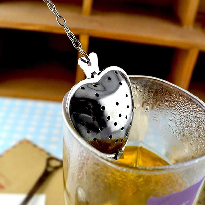 YJYdada Heart Shaped Stainless Steel Tea Leaf Filter Herbal Spice Infuser Strainer Spoon A