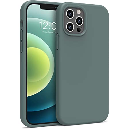 Boomdio Liquid Silicone Compatible with iPhone 12 Case and iPhone 12 Pro Case 6.1 inch(2020) Full Body Protective Case (with Soft Microfiber Lining) (Green)