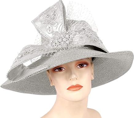 771e530140001 Ms. Divine Collection Women s Metallic Straw Dress Church Derby Hats - 93056