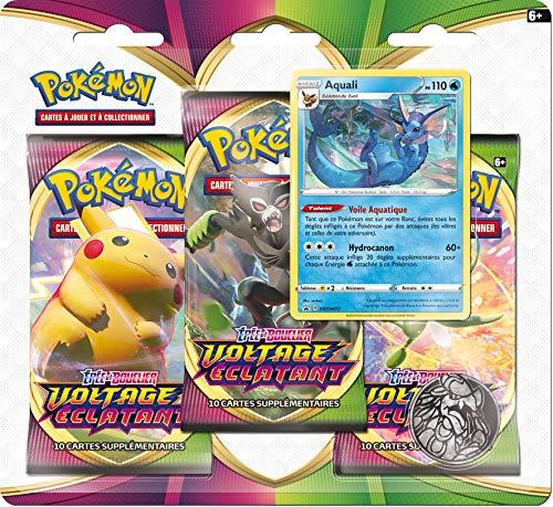 Pokémon Epée et Bouclier-Voltage Eclatant (EB04) : Pack 3 boosters-Jeu de Cartes à Collectionner, aléatoire