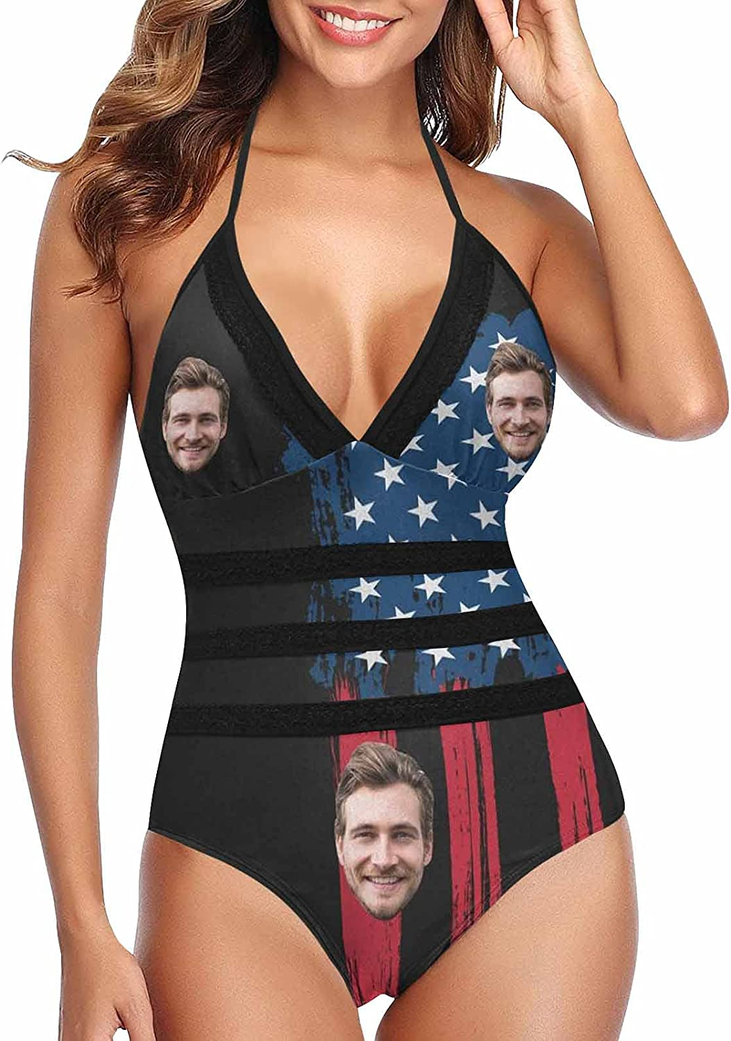 Custom Face Photo Low price Lace Band Funny Swimsuit Swim In a popularity Embossing Zipper