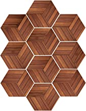 10PCS/Pack Creative DIY Hexagon Tile Stickers Removable Waterproof Non-Slip Wall Stickers Dark Wood Grain Style Bathroom F...
