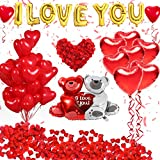 Golray 40 Pack I Love You Balloons and Heart Balloons Kit with 1000 Pcs Dark-Red Silk Rose Petals Wedding Flower Decoration Love-Bear Red Heart Balloons for Valentine Day Party Decorations